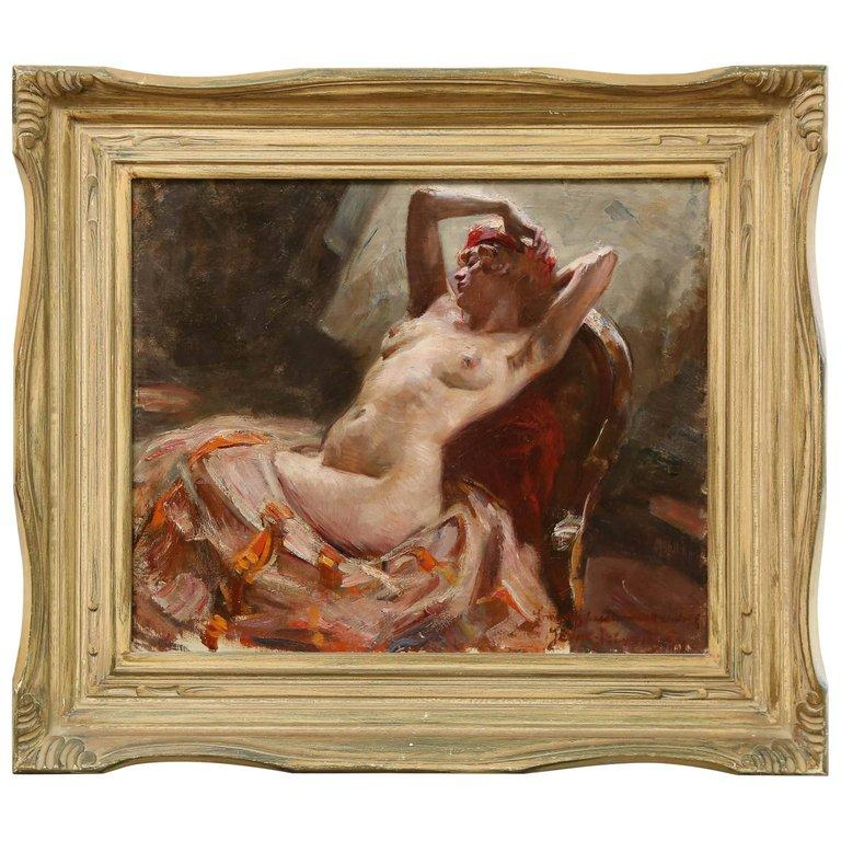 (attributed to) Istvan Szonyi Nude Painting - Reclining Nude