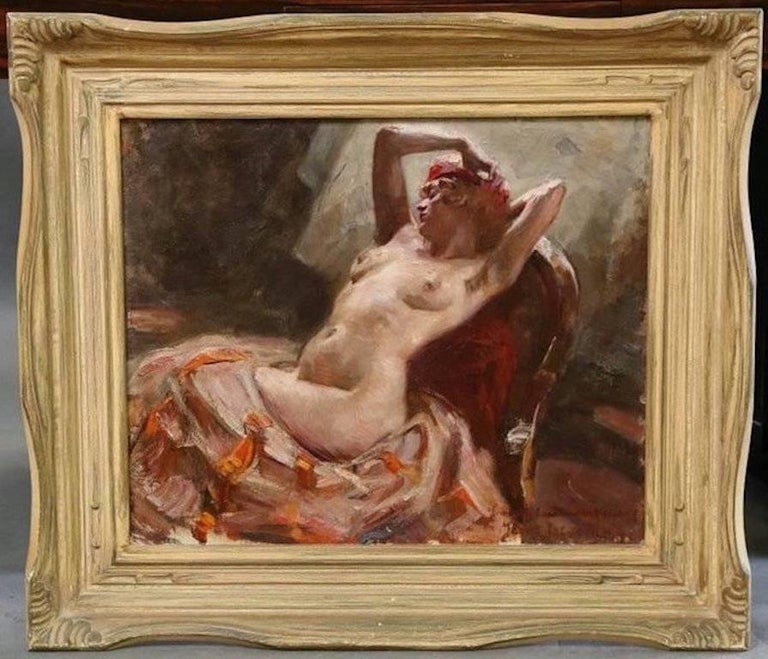 Reclining Nude - Painting by (attributed to) Istvan Szonyi