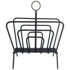 Attributed to Jacques Adnet, Black Lacquered Metal and Brass Magazine Rack