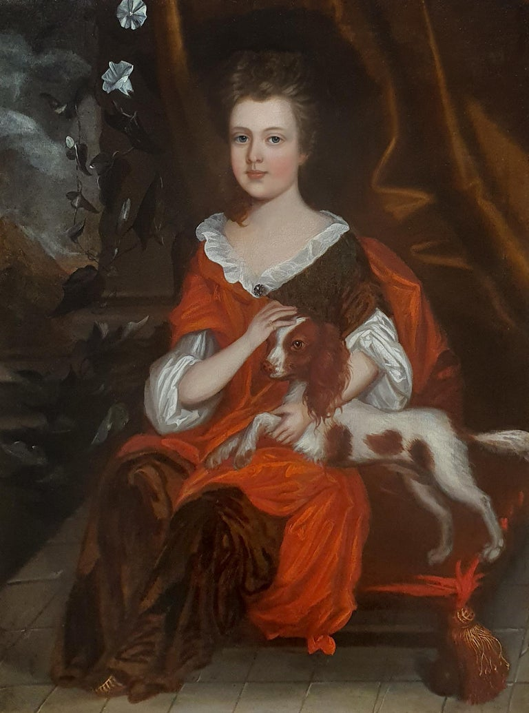 Portrait of a Girl with Spaniel c.1695 Pet Dog Antique oil painting Anglo-Dutch - Painting by (attributed to) Johannes Verelst