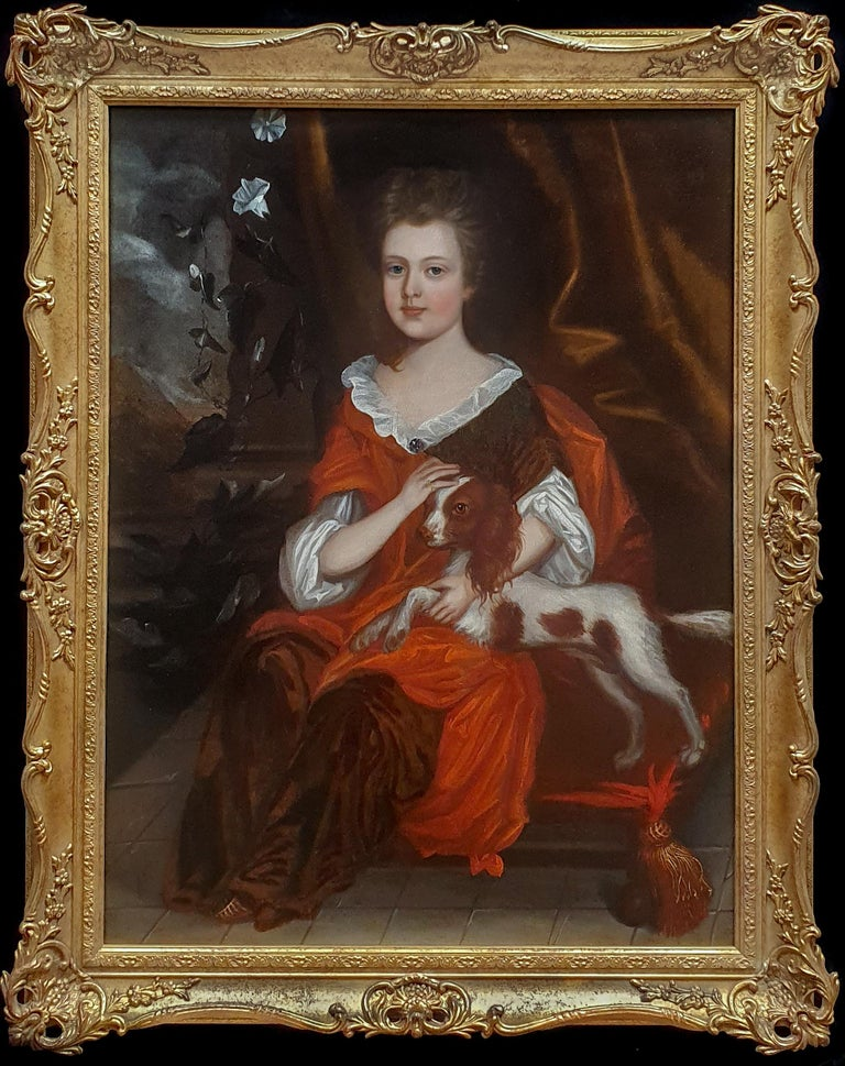 (attributed to) Johannes Verelst Portrait Painting - Portrait of a Girl with Spaniel c.1695 Pet Dog Antique oil painting Anglo-Dutch