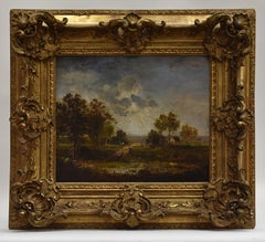 Landscape with a little farm, water, farmer's wife and horses - Barbizon