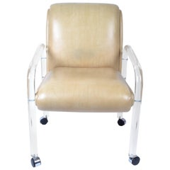 Attributed to Leon Frost Lucite and Vinyl Armchair, Desk Chair on Casters
