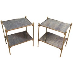 In the style of Maison Bagués. Pair of Neoclassical Brass Side Tables