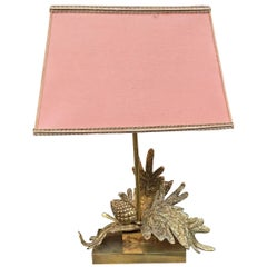 Attributed to Maison Charles, High Gilt Bronze Table Lamp with Pine Cone Design