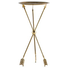 Attributed to Maison Jansen Brass Tripod Table with Arrow Motif