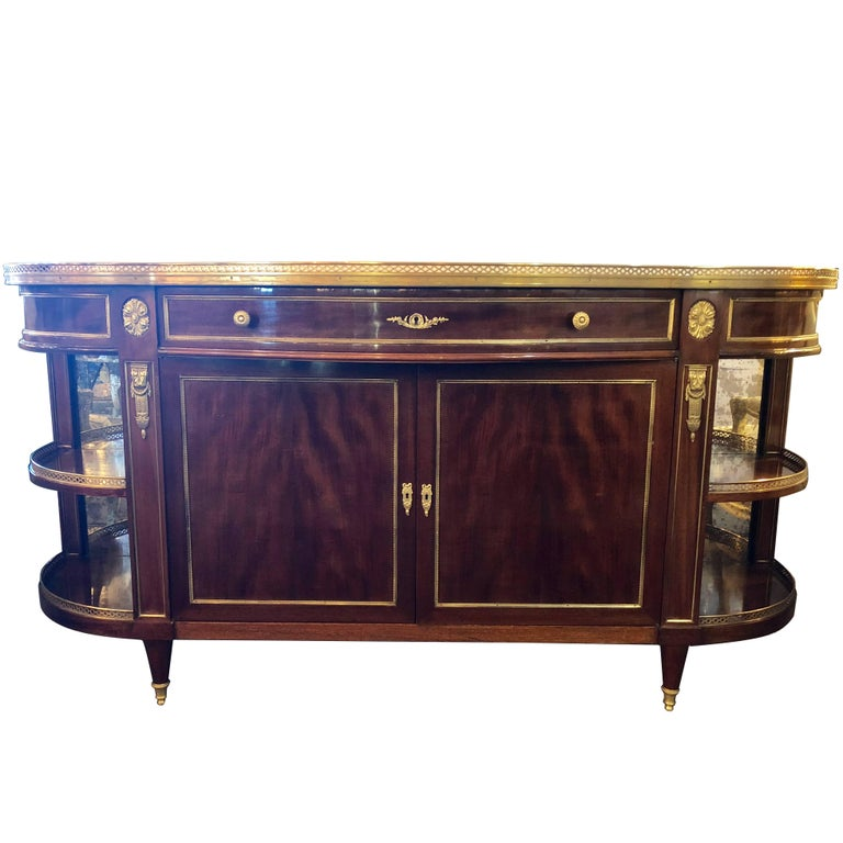 Attributed to Maison Jansen Flame Mahogany Demilune Server Sideboard