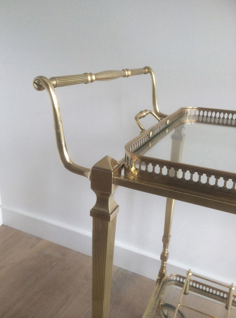 Attributed to Maison Jansen. Neoclassical Brass Bar Cart with Removable For Sale 6