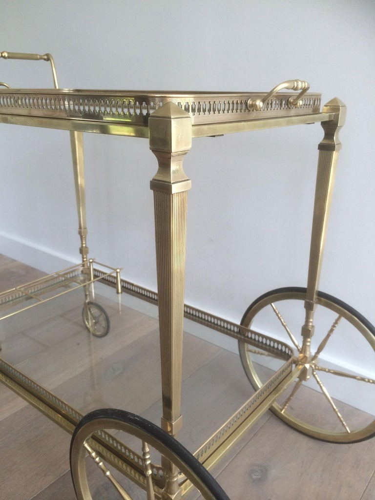Attributed to Maison Jansen. Neoclassical Brass Bar Cart with Removable For Sale 8