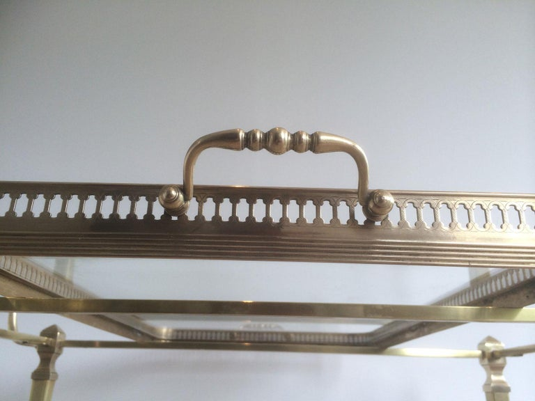 Attributed to Maison Jansen. Neoclassical Brass Bar Cart with Removable For Sale 10