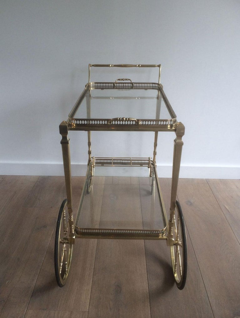 Attributed to Maison Jansen. Neoclassical Brass Bar Cart with Removable For Sale 12