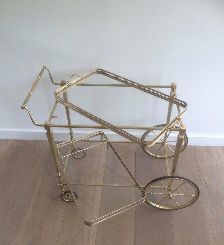 Attributed to Maison Jansen. Neoclassical Brass Bar Cart with Removable For Sale 13
