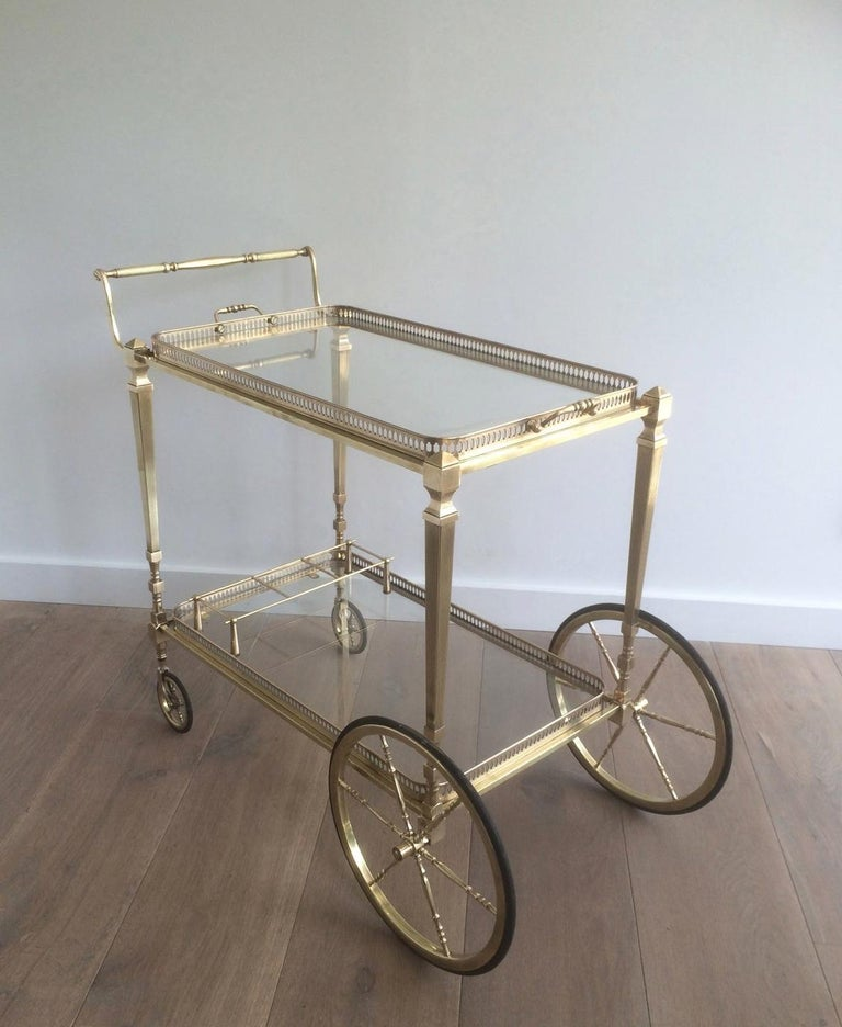 French Attributed to Maison Jansen. Neoclassical Brass Bar Cart with Removable For Sale