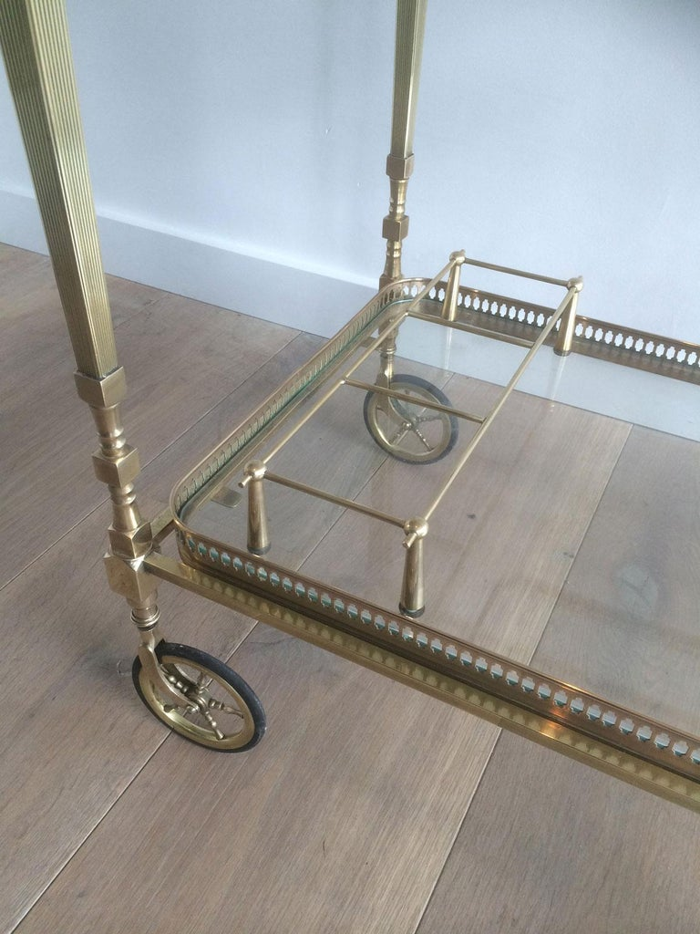 Glass Attributed to Maison Jansen. Neoclassical Brass Bar Cart with Removable For Sale