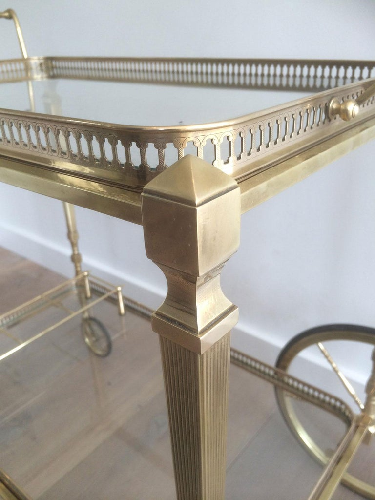 Attributed to Maison Jansen. Neoclassical Brass Bar Cart with Removable For Sale 1