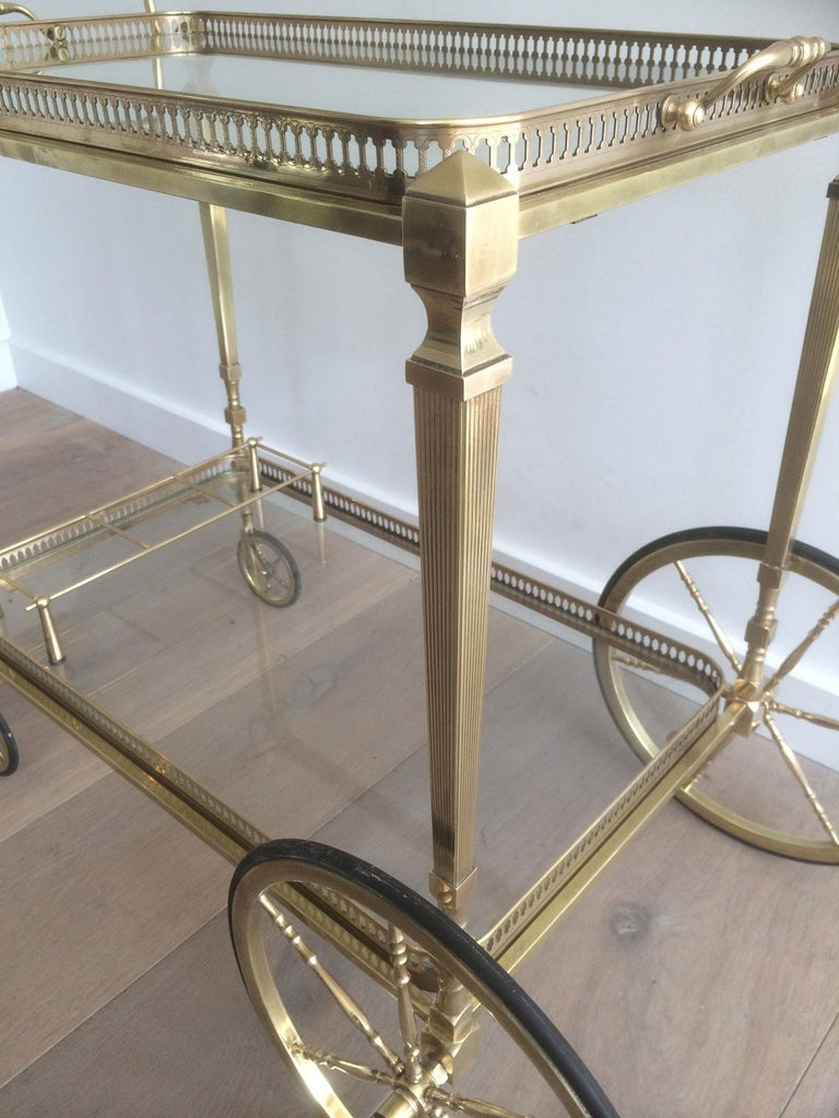 Attributed to Maison Jansen. Neoclassical Brass Bar Cart with Removable For Sale 2