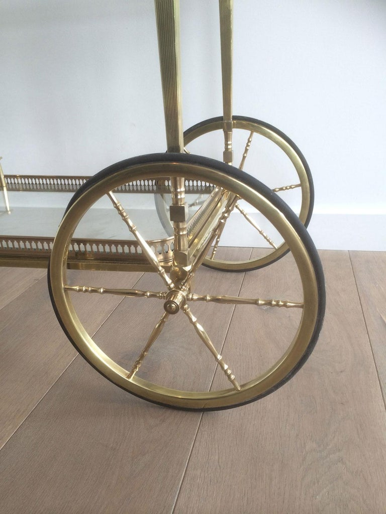 Attributed to Maison Jansen. Neoclassical Brass Bar Cart with Removable For Sale 3