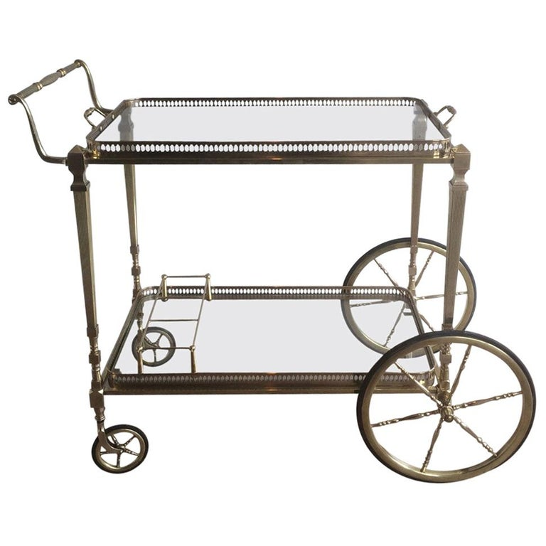 Attributed to Maison Jansen. Neoclassical Brass Bar Cart with Removable For Sale
