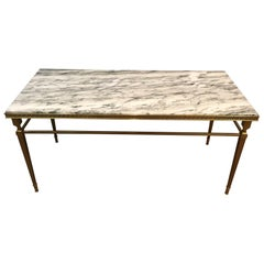 Attributed to Maison Jansen, Neoclassical Brass Coffee Table with Marble Top