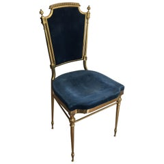 Attributed to Maison Jansen, Neoclassical Gilt Brass Chair with Royal Blue