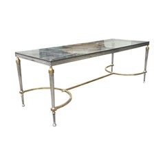 Attributed to Maison Jansen Neoclassical Steel & Brass Coffee Table, Glass Top