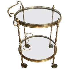 Attributed to Maison Jansen, Neoclassical Style Brass Trolley with Glass Trays