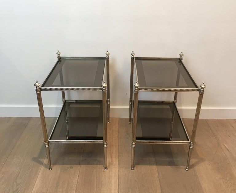 Pair of Neoclassical Stye Silvered Side Tables Attributed to Maison Jansen For Sale 4