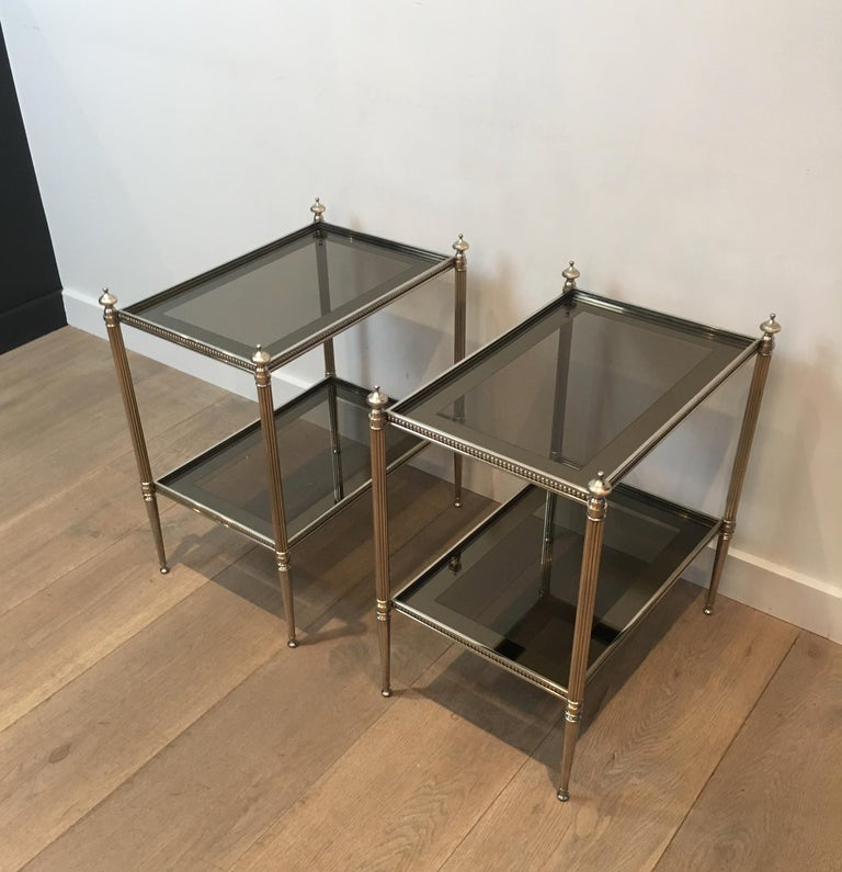 Pair of Neoclassical Stye Silvered Side Tables Attributed to Maison Jansen For Sale 5
