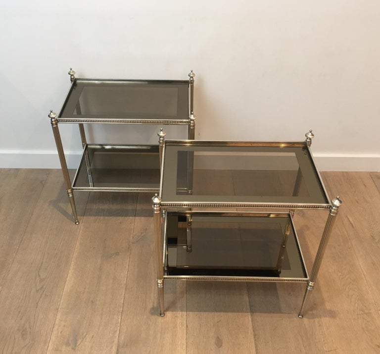 Pair of Neoclassical Stye Silvered Side Tables Attributed to Maison Jansen For Sale 6