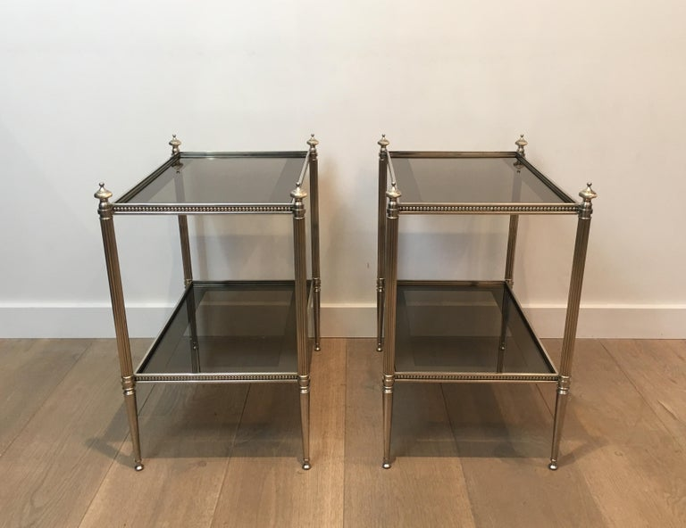 Pair of Neoclassical Stye Silvered Side Tables Attributed to Maison Jansen For Sale 7