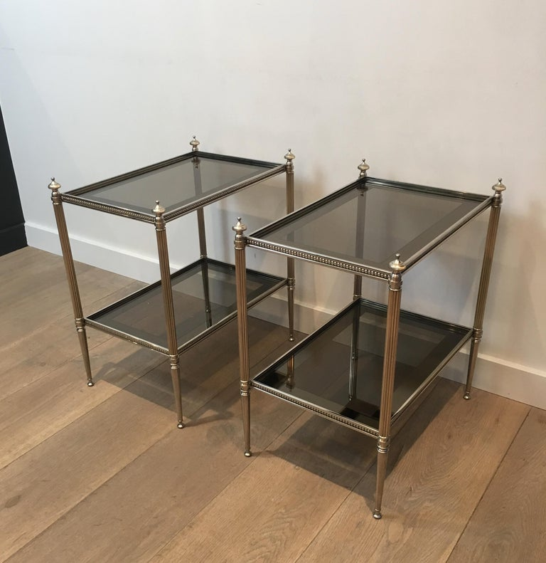 Pair of Neoclassical Stye Silvered Side Tables Attributed to Maison Jansen For Sale 8