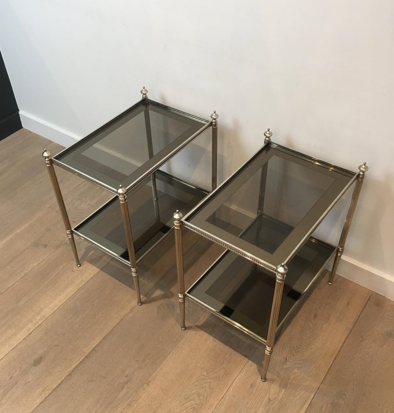 Pair of Neoclassical Stye Silvered Side Tables Attributed to Maison Jansen For Sale 9