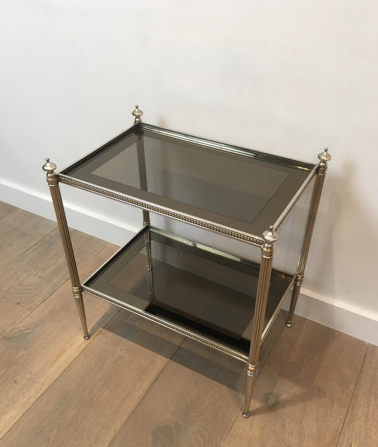 Pair of Neoclassical Stye Silvered Side Tables Attributed to Maison Jansen For Sale 10