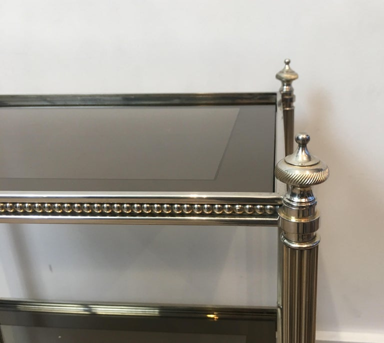 Pair of Neoclassical Stye Silvered Side Tables Attributed to Maison Jansen For Sale 12
