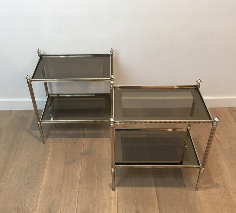 Pair of Neoclassical Stye Silvered Side Tables Attributed to Maison Jansen For Sale 13