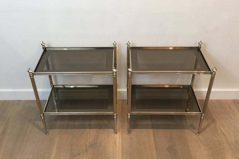 Pair of Neoclassical Stye Silvered Side Tables Attributed to Maison Jansen For Sale 14