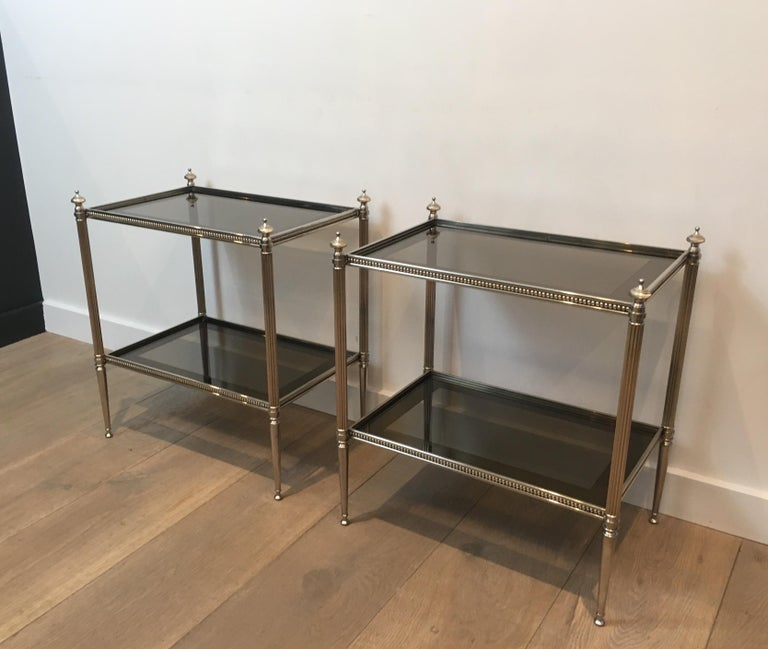 French Pair of Neoclassical Stye Silvered Side Tables Attributed to Maison Jansen For Sale