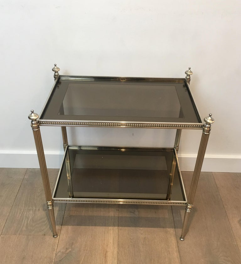 Bronzed Pair of Neoclassical Stye Silvered Side Tables Attributed to Maison Jansen For Sale