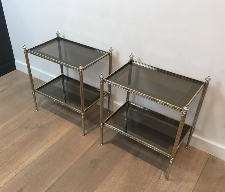 Pair of Neoclassical Stye Silvered Side Tables Attributed to Maison Jansen For Sale 3