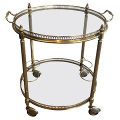 Attributed to Maison Jansen, Round Neoclassical Style Brass Drinks Trolley
