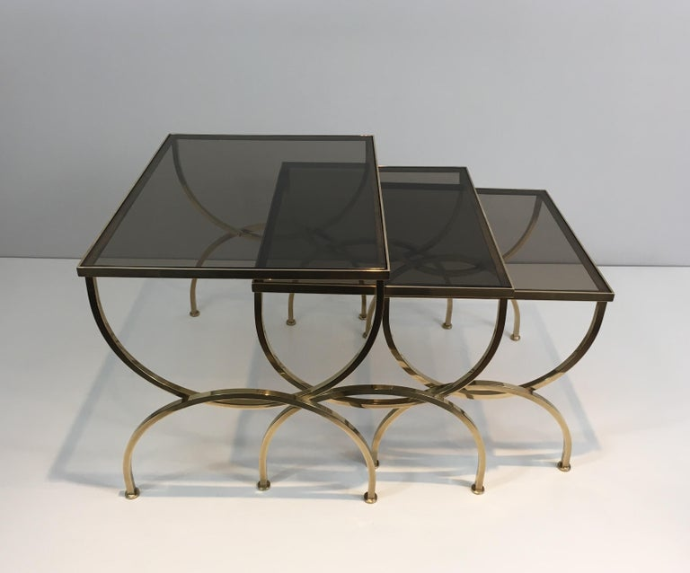 Set of 3 Brass Nesting Tables  For Sale 7