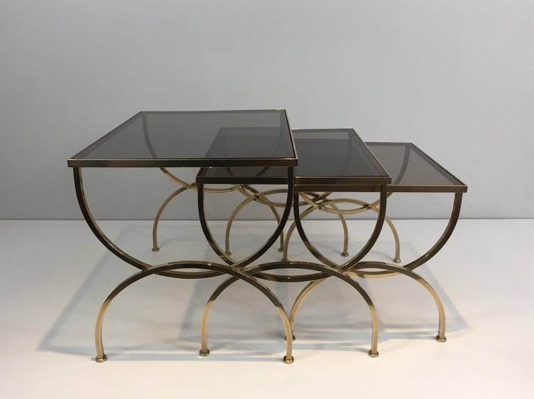 Set of 3 Brass Nesting Tables  For Sale 8