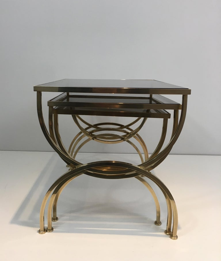 Set of 3 Brass Nesting Tables  For Sale 9