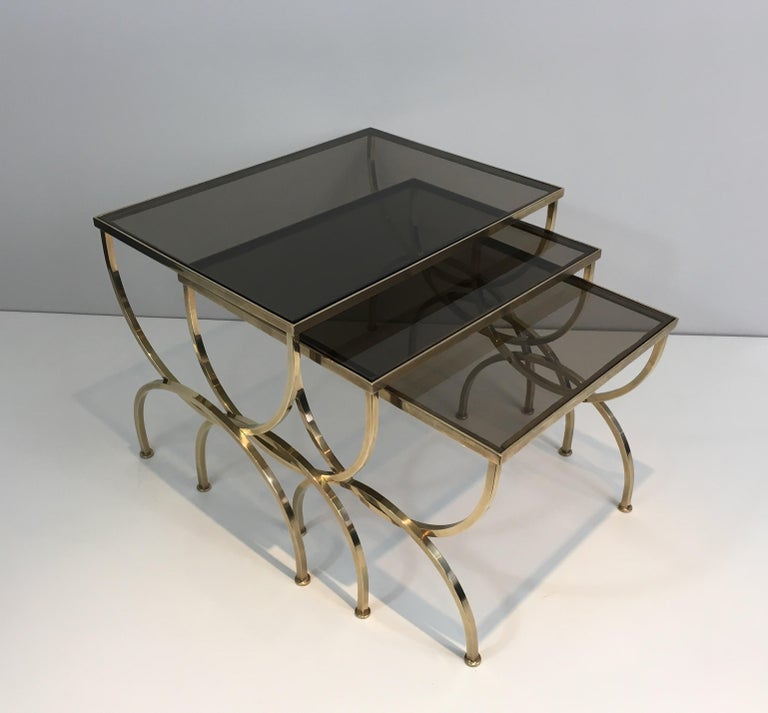 Set of 3 Brass Nesting Tables  For Sale 10