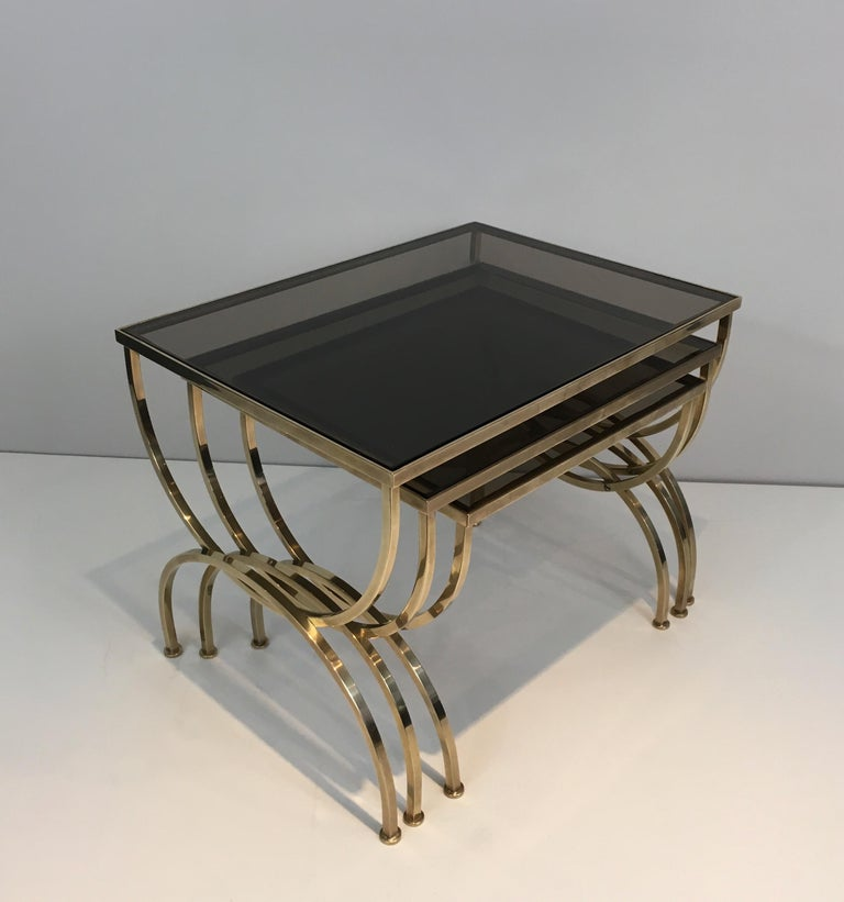 Set of 3 Brass Nesting Tables  For Sale 11