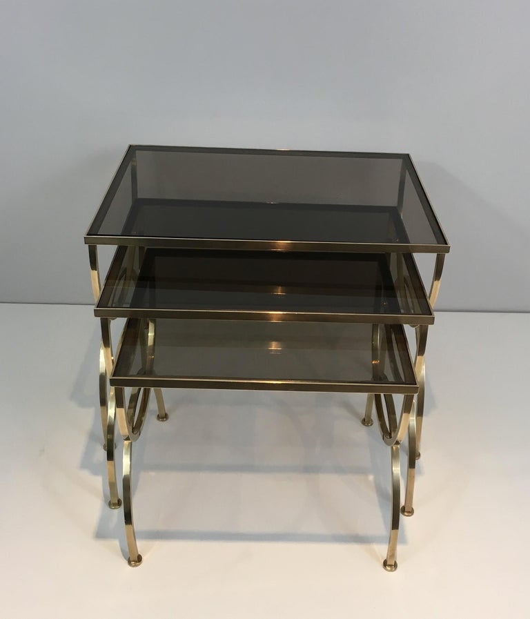 Set of 3 Brass Nesting Tables  For Sale 12