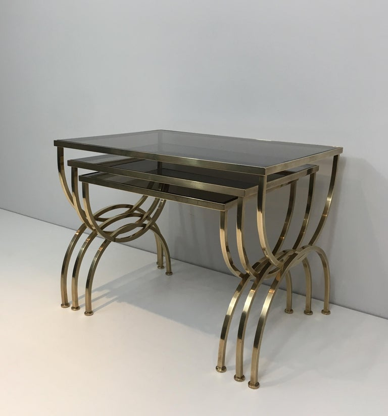 Set of 3 Brass Nesting Tables  For Sale 13