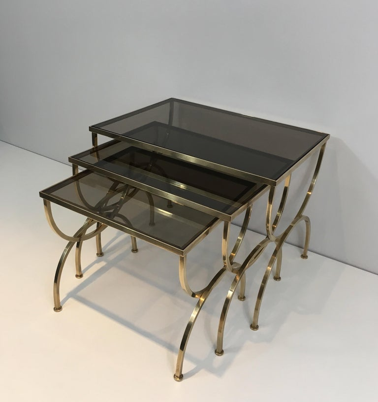 Set of 3 Brass Nesting Tables  For Sale 14