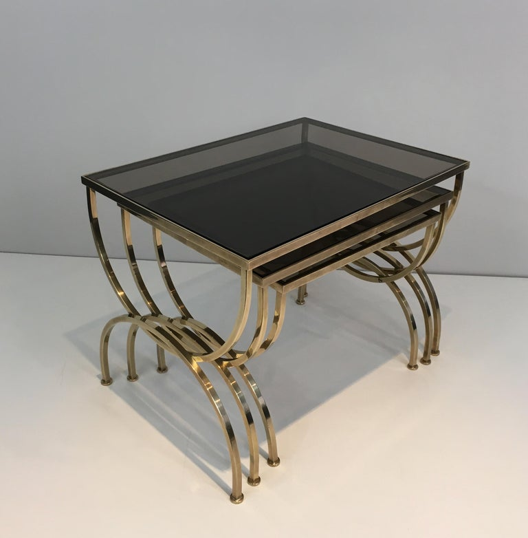 Neoclassical Set of 3 Brass Nesting Tables  For Sale