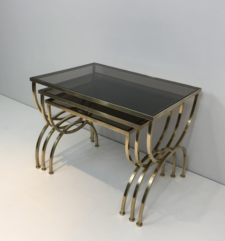 20th Century Set of 3 Brass Nesting Tables  For Sale